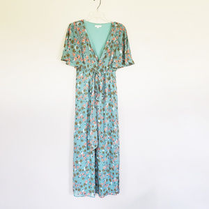 Green Floral Maxi Dress by Tulle - Size Small